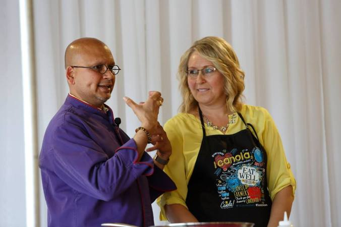 Chef Raghavan & Patricia Cheuy, RD - dynamic duo with seamless, informative & hilarious banter.  Courtesy of Canola Eat Well